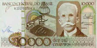 1986 Pick 209 Front Side Of A 10 Cruzados Banknote The Person Portrayed Is Rui Barbosa Jurist And Statesman 1849 73 One Founders