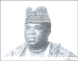 Dr. Joseph Saidu Momoh, President of Sierra Leone 1988-1993. Date of engraving unknown.