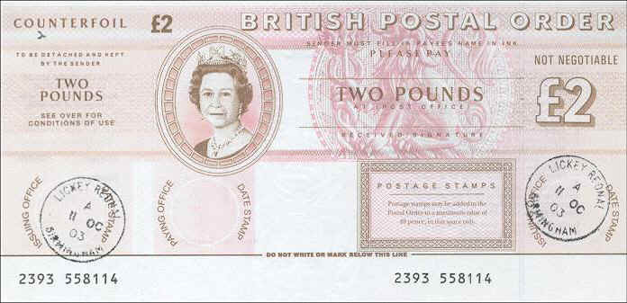 Postal Order Of 2 Favour Cancelled In Lickey Rednal Birmingham On 11th October 2003