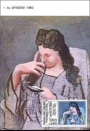 "France 1982. Maximum Card of Picasso's painting ""Reading Woman"", FD-cancelled in Paris on 27.03.1982."