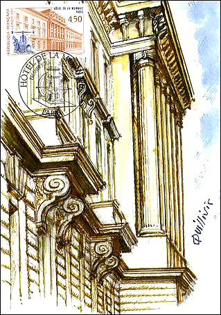 France 1999. Maximum Card showing a fragment of Hotel de la Monnaie, with its impressive columns at the entrance, FD-cancelled in Paris 05.06.1999.