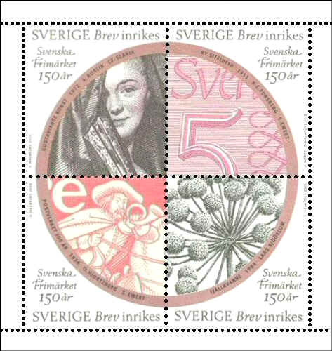 Sweden 2005. Commemorative booklet-pane commemorating the sesquicentennial of Swedish Post Stamps, containing the re-use of Slania's engraving from 1972.